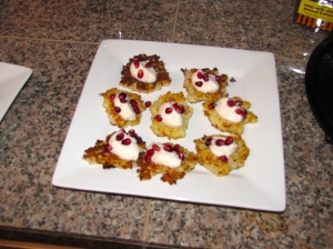 Cauliflower-Fets Fritters with Pomegranate