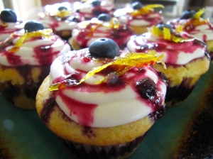 Lemon Blueberry Basil Cupcakes
